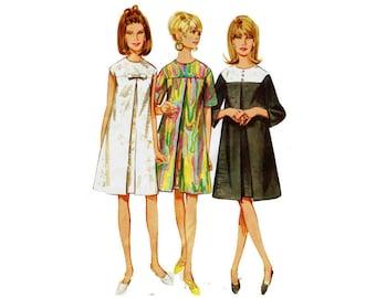 60s A-line Tent Dress Front inverted Pleat Mod Style 1960s Uncut Vintage Sewing Pattern Size 12 Bust 32 mod dress Butterick 4386