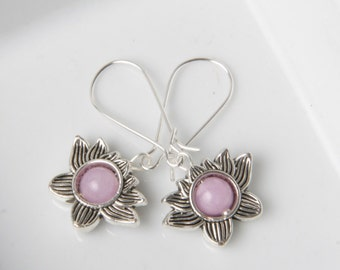 Jade earrings, Silver Lotus Earrings, Purple Jade Earrings, lotus flower earrings, Silver Flower earrings, lotus jewelry, Christmas gift