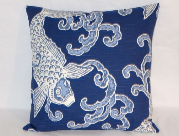 Navy koi throw pillow indigo blue white fish carp waves for Koi fish pillow