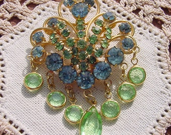 Aquamarine and Peridot Ornate Vintage Rhinestone Brooch