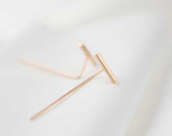 Bar threader earrings. Minimalist ear Jacket. Elegant Bar Earrings. Rose gold Ear Jacket. Bar Ear Jackets