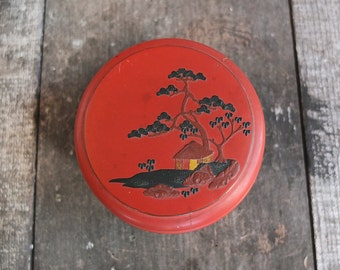 Vintage Japanese Red Lacquerware Trinket Box / Jewelry Box