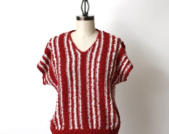 Vintage 1980s boxy knit summer sweater by Joyce - textured rust and white side to side knit - size medium