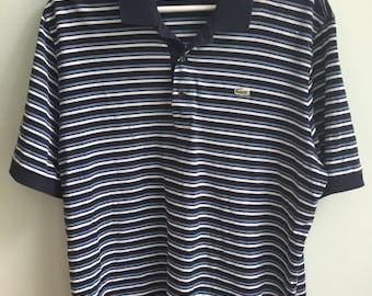 vintage lacoste striped blue short sleeve golf polo shirt / medium