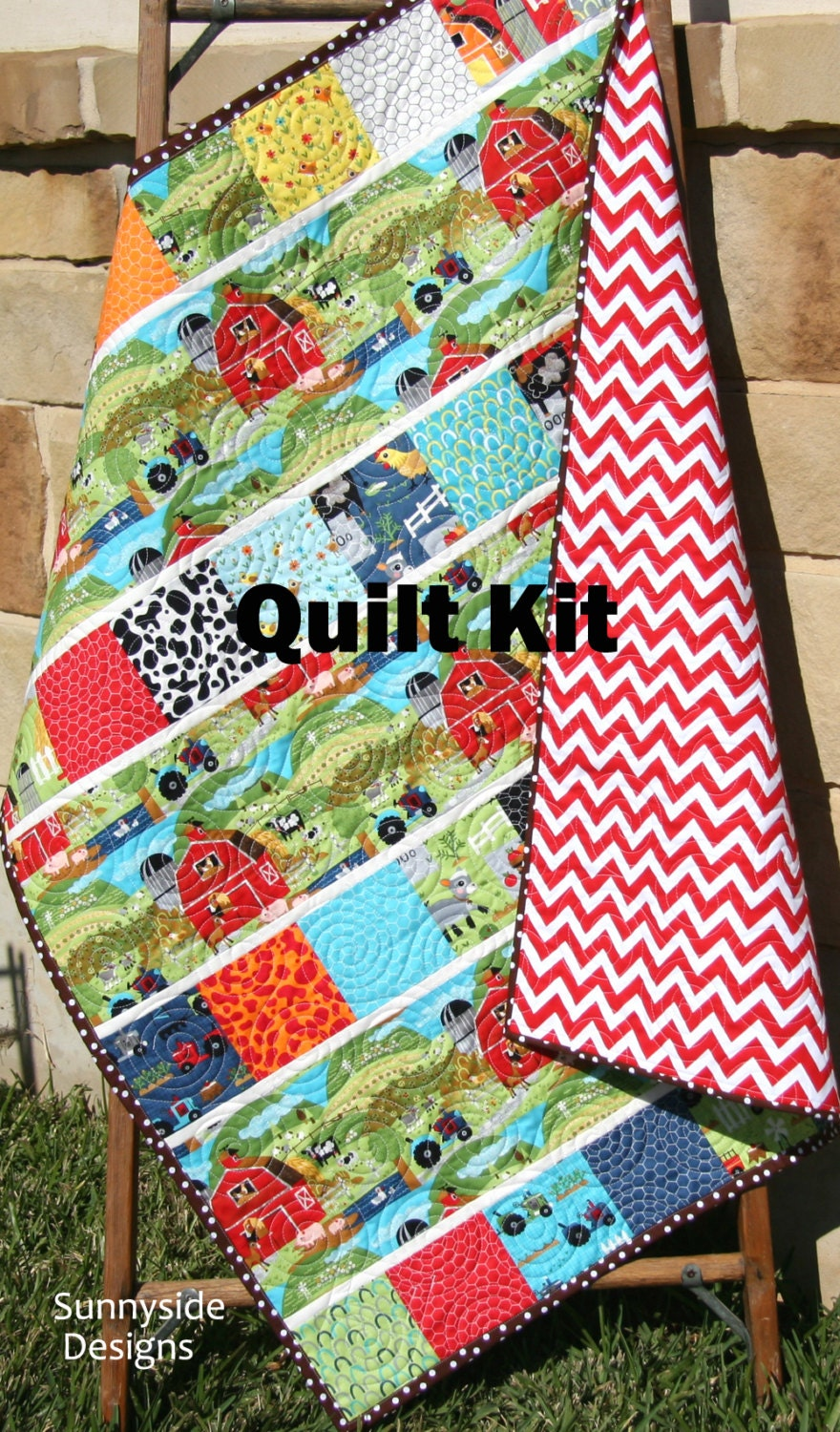 Last One Baby Quilt Kit Farm Animals Oink A Doodle Moo Moda