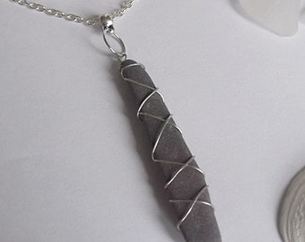 Wire wrapped Welsh Slate Necklace. Welsh Pendant