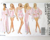 1980s Lingerie Pattern, Butterick 6985, Womens Peignoir Nightgown Robe Camisole Panties Teddy Pattern Size XS-S-M or L-XL Bust 30.5-44 UNCUT