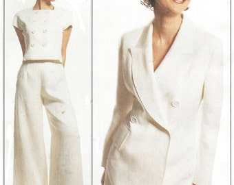 90s Lida Baday Womens Retro Lined Jacket, Top and Wide Legged Pants McCalls Sewing Pattern 8256 Size 16 Bust 38 UnCut Sewing Patterns
