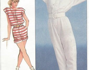 80s Womens Jiffy Jumpsuit or Romper Button Front Simplicity Sewing Pattern 8125 Size 10 12 14 Bust 32 1/2 to 34 UnCut