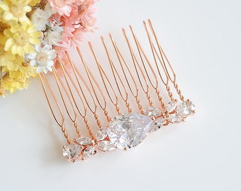 Rose Gold Bridal Hair Comb, Wedding Hair Comb, Crystal Headpiece, Teardrop Hairpin, Clover Leaf Hair Clip, Bridal Hair Jewelry, HARRIET