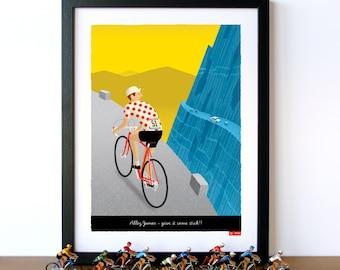 PERSONALISED Bike Art, Customisable Jersey, Name, Race Number, Hair, Eye and Bike Colour - Breakaway