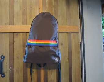 Vintage 1970s RARE Backpack by Monsac - Dark Brown and Rainbow Striped Backpack