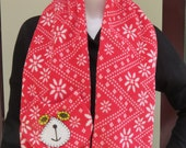 Red & White Flat Cat Fleece Scarf - Nordic Pattern - Limited Edition