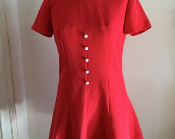 Vintage des années 60 rouge nuisette robe Peter Pan collar Mod robe S M