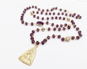 Amethyst Beaded Necklace with Gold Vermeil Buddha Pendant, CZ Bead, and Amethyst Bezeled Gemstones