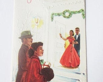 Vintage Christmas Card - Christmas Greetings - African American Dinner Party - One Card original Envelope - Ebony Classics - Black Americana