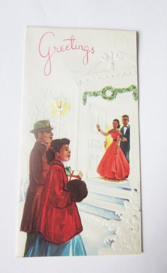 Vintage Christmas Card - Christmas Greetings - African American Dinner Party - One Card original Envelope - Ebony Classics - Black Americana
