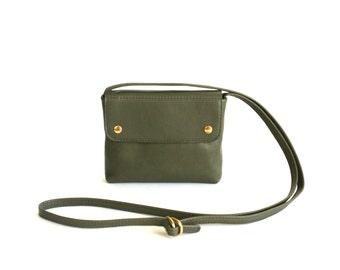 Crossbody Purse Oliv, small leather purse, evening bag, oliv green cross body bag, mini leather handbag