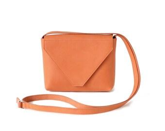 Minimalistic Crossbody Bag Genuine Leather Coral Orange, small satchel bag, coral handbag