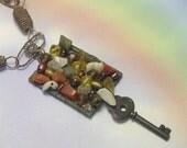 Upcycled Recycled OOAK One Of A Kind Handmade Steampunk Key Necklace, key steampunk necklace, steampunk key pendant, semi precious gemstones