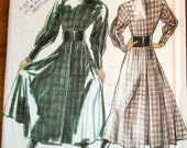 New Look 6022 Shirtwaist Shirt Dress, Bishop Sleeves, Women's Misses Vintage 1980s Sewing Pattern Size 8-18 Bust 31-40 Uncut Factory Folds