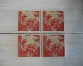 COASTERS Red Toile Vintage Style Coasters, Vintage Style Ceramic Tile Coaster Set of 4, Vintage French Red Toile Fabric Look Coasters