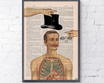 Summer Sale Anatomy of a Gentleman- Wall art print, Dictionary Book Page Anatomy Art on Upcycled, giclee print, Home decor SKA113