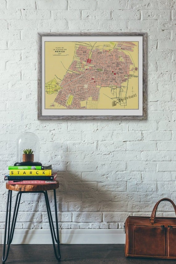 Mexico city old map vintage poster ,Old City map poster, wall art, Vintage city Giclee city map poster TVH233WA3