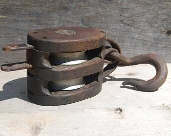 Vintage Wooden Block Pulley, Madesco Products Block Pulley, Vintage Industrial Decor