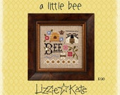10% OFF Pre-order A Little Bee Kit INCLUDES fabric button : Lizzie Kate counted cross stitch patterns Spring Summer July August bee skep