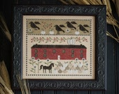 NEW White Pumpkin Farm Autumn cross stitch pattern by Plum Street Samplers at cottageneedle.com crows pumpkins October hand embroidery