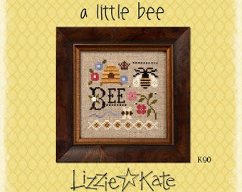 NEW A Little Bee Kit INCLUDES fabric button : Lizzie Kate counted cross stitch patterns Spring Summer July August bee skep