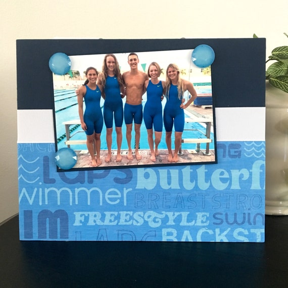 "Swimming Sayings Sports team Swimmer Coach mom dad gift custom handmade magnetic picture frame holds 5"" x 7"" photo 9"" x 11"" size"