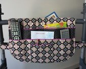 Diamond Cross, Walker Bag, Organizer Tote, Caddy, Pouch, Purse, Fits Standard & Most Rollators, Lots of Pockets, Black White Orchid