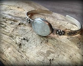 Rainbow Moonstone Sterling Silver Cuff Stacking Bracelet