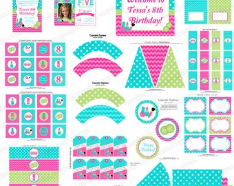 Girls Spa Birthday Party decorations PRINTABLE Deluxe Package pedi manicure facials pink teal lime green DIY personalized