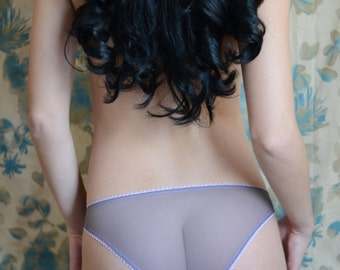 Women Sleepwear & Intimates Panties Handmade Lingerie  The  Classic Design Bikini Lilac Gray Mesh Panties Made to Order