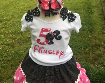 Custom Made Inspired Barbie Birthday Applique Number embroidered Name Top SHIRT 2T 3t 4T 5 6 7 8