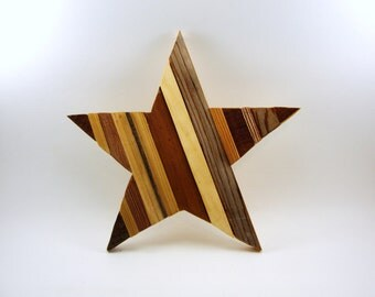 wood star collage natural cedar upcycled wall hanging