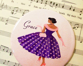 Personalized African American Woman Lipstick Mirror, 1950's Fashionista in Purple and Pink Scoopneck Polka Dot Dress,Large 3.50 Inches