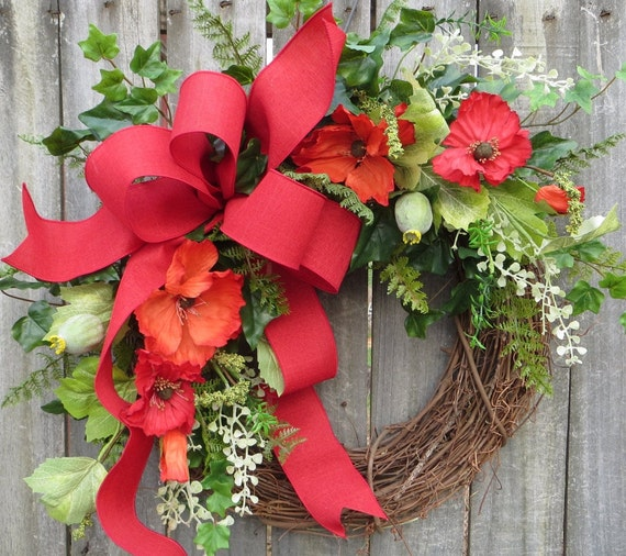 Spring / Summer Wreath, Wreath for Spring and Summer -  Red Poppies and Linen, Red and Orange Poppies, Spring Wreath, Door Wreath