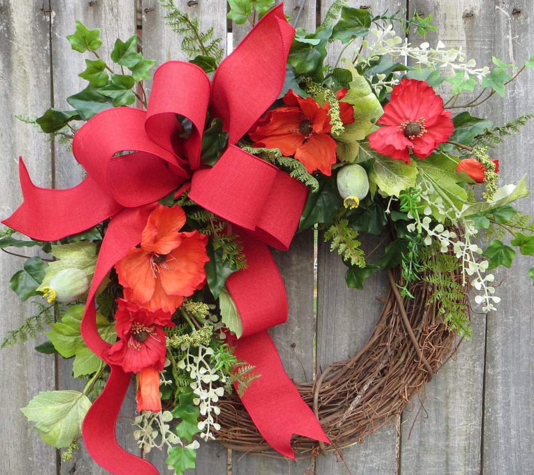 Spring Summer Wreath Wreath for Spring and Summer Red