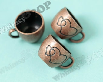 1 - 3D Antique Copper Colored Cappuccino Coffee Mug Cup Heart Kawaii Foodie Charm, Coffee Charm, 26mm x 20mm (R8-216)