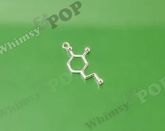 Dopamine Silver Charms, Molecule Charm, Science Charm, Geek Charm, Nerd Charm, Dopamine Charm, Dopamine, 25mm x 12mm (1-5B)