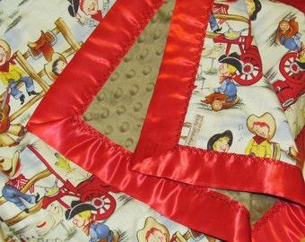"""Minky baby blanket- 30"""" X 36""""-'Little cowpokes' minky blanket- cowboy minky baby blanket- toddler minky blanket- baby shower gift-"""