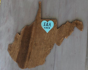 Guestbook Alternative, Wooden State Wedding Guestbook - 2 ft West Virginia in Distressed Chestnut Stain