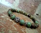 Green Opal / Wrist Mala / Opal Bracelet / Antiqued Sterling Silver / Mala Bracelet