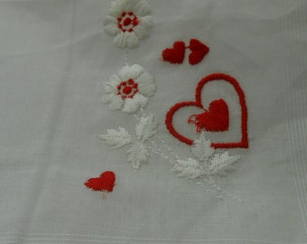 Hanky, Vintage, White, Bridal, Wedding, Valentine, Heart