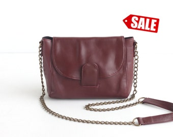 ROXY Leather Crossbody Bag. Leather Chain Purse. Small Leather Bag. Small Leather Purse. Small Purse. Cross Body Bag. Maroon Shoulder Purse