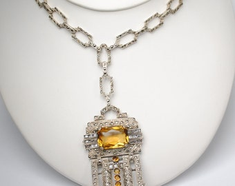Unique Art Deco Marcasite Orange Glass Necklace, Silver